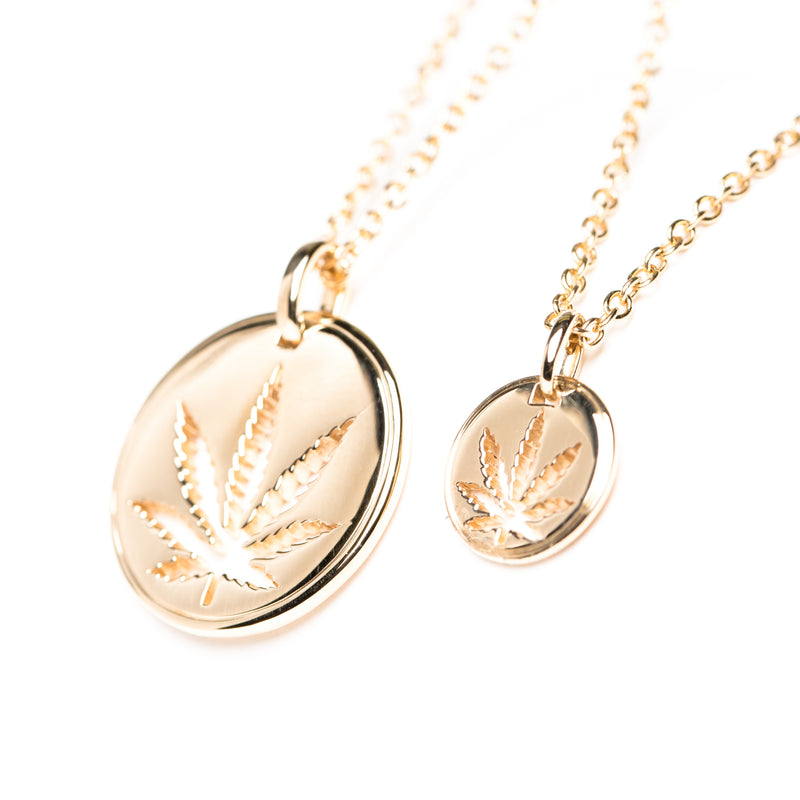 18mm and 10mm Yellow Gold Sativa Leaf Cutout Disc Pendant
