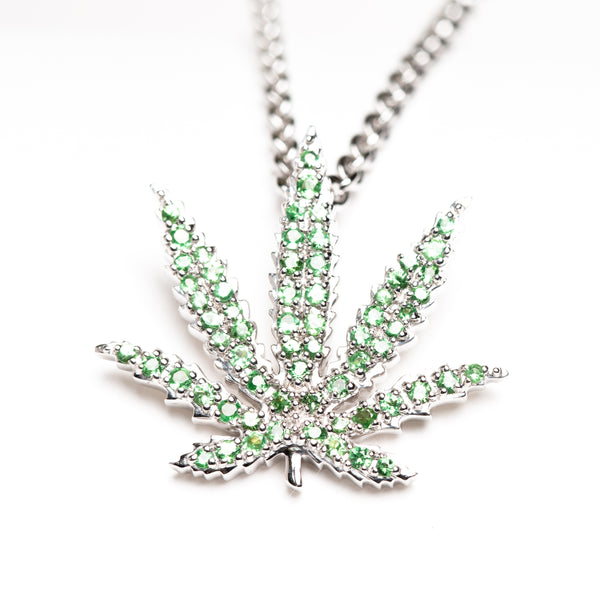White Gold Sativa Leaf Pendant - Green Garnet