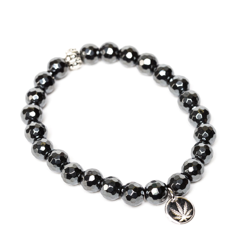 Gemstone Beaded Bracelet Sterling Silver Charm - Hematite Faceted