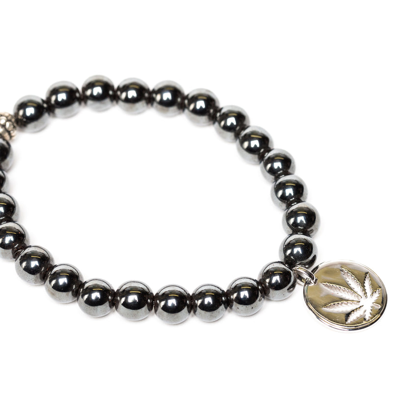 Gemstone Beaded Bracelet Sterling Silver Charm - Hematite