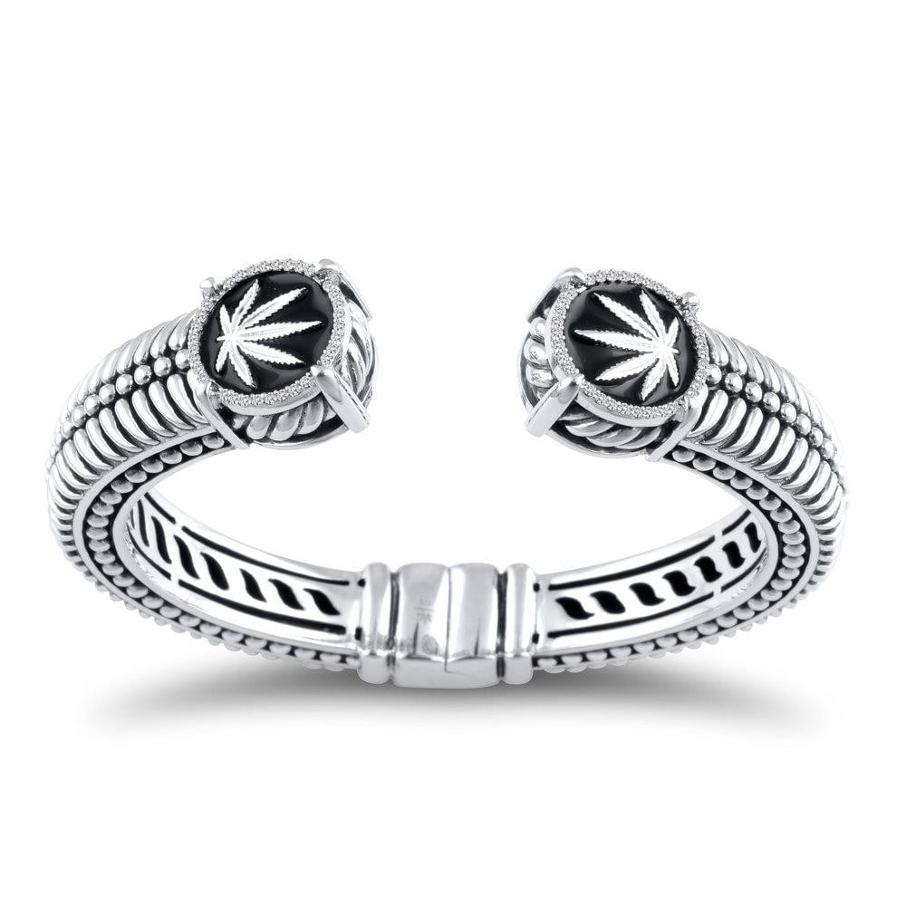 Sterling Silver Sativa Leaf & Diamond Hinged Cuff Bracelet