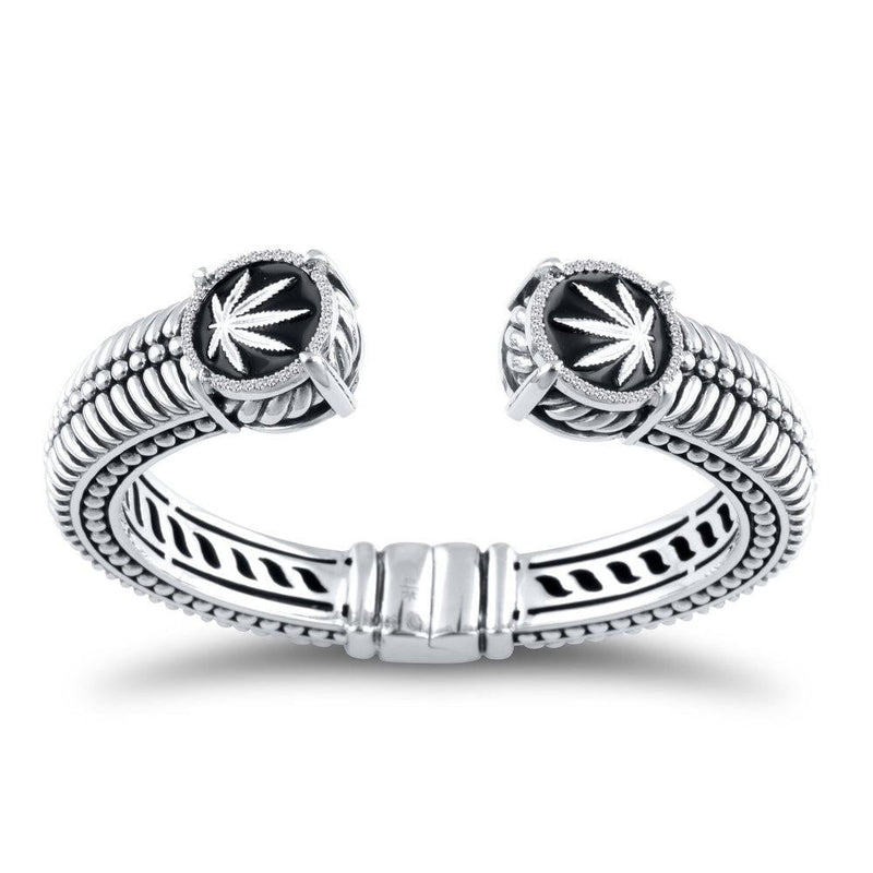 Sterling Silver Sativa Leaf Bracelet - Hinged Cuff with Diamonds