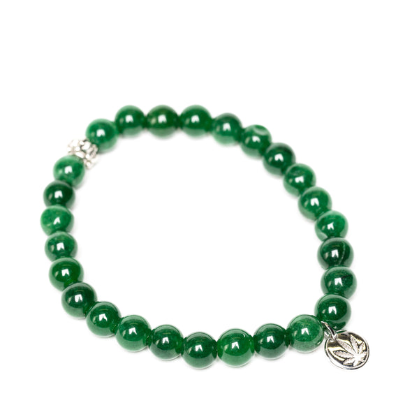 Gemstone Beaded Bracelet Sterling Silver Charm - Green Jade