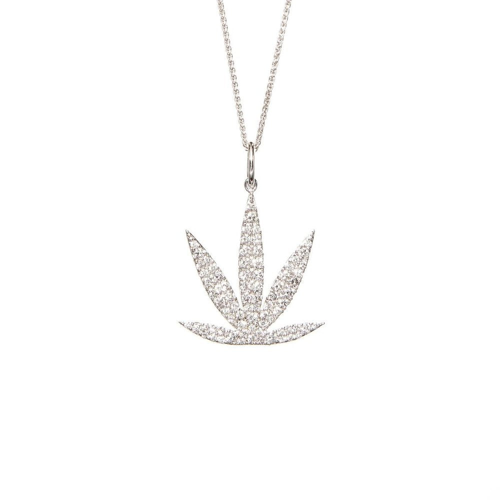 14kt White Gold Modern Leaf Diamond Pavé Pendant