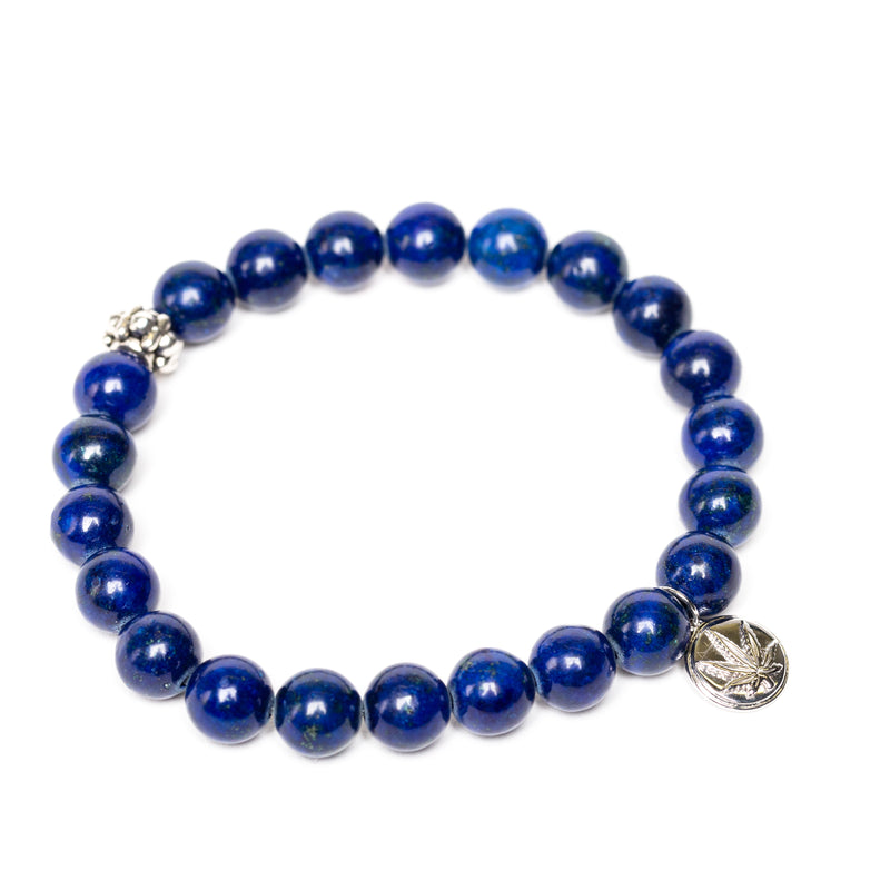 Gemstone Beaded Bracelet Sterling Silver Charm - Lovely Lapis