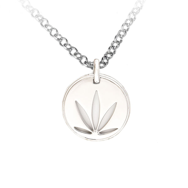 Sterling Silver Modern Leaf Pendant - Cutout Disc