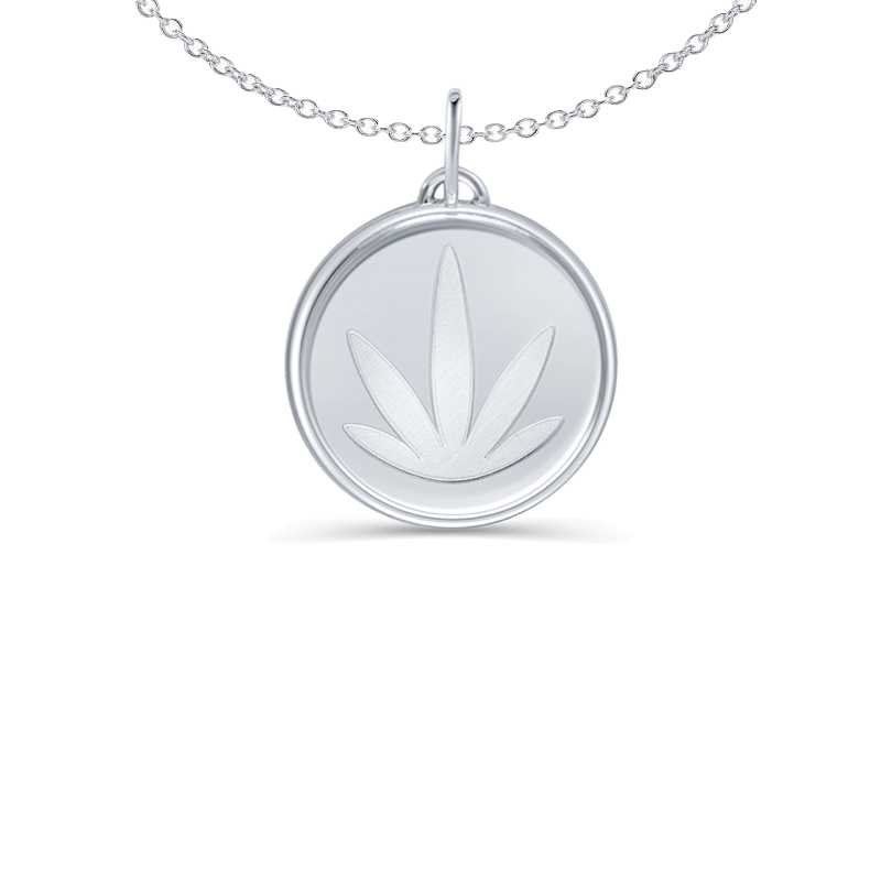 Sterling Silver Etched Modern Leaf 15mm Pendant