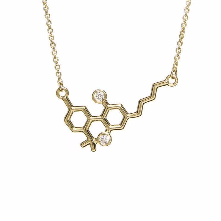 14kt Yellow Gold THC or CBD Mini Molecule with White Diamonds Necklace