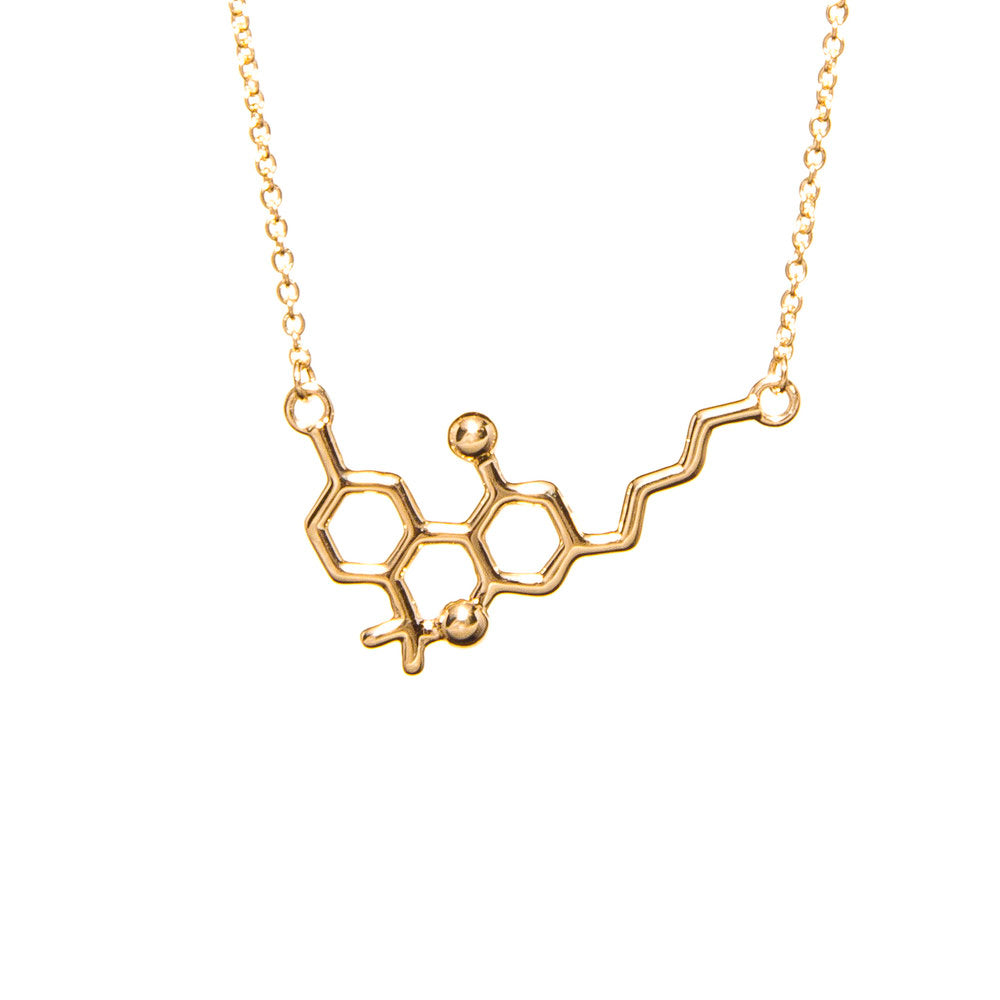 14kt Yellow Gold THC or CBD Molecule Necklace