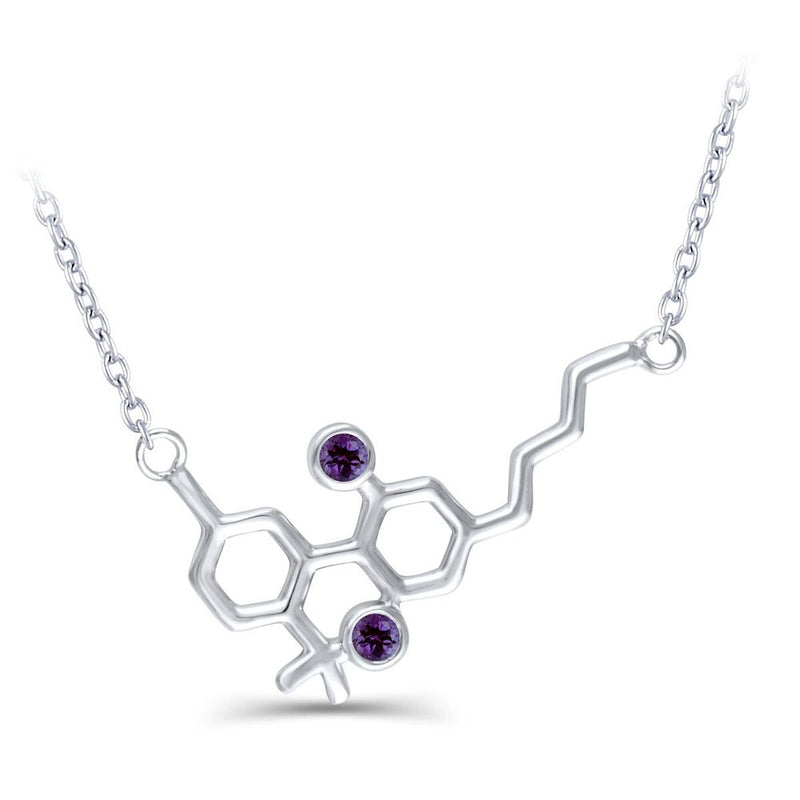 Sterling Silver Molecule Necklace Amethyst