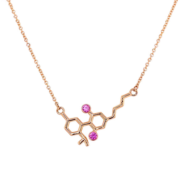 Gold Molecule Necklace with Pink Sapphires