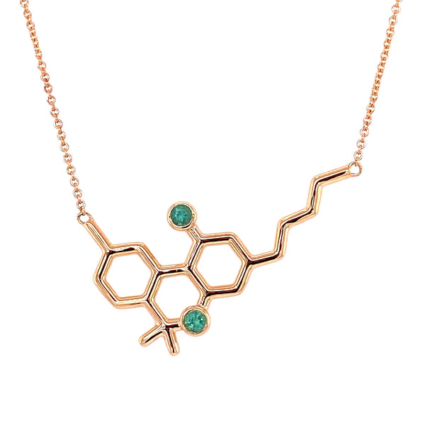 Gold Molecule Necklace with Emeralds