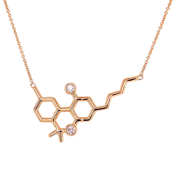 Gold Molecule Necklace with White Diamonds