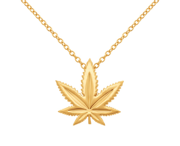 Yellow Gold Indica Leaf Classic Pendant