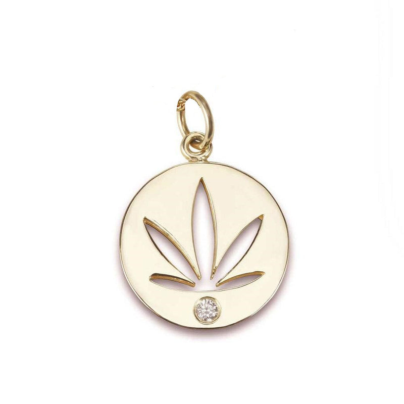 Gold Modern Leaf Pendant - Cutout Disc with Diamond