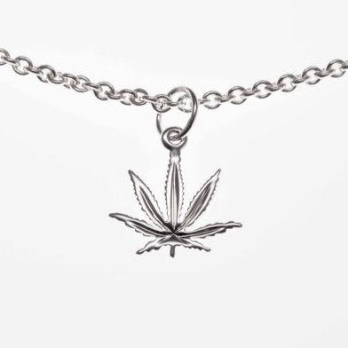 10 mm Sterling Silver Sativa Leaf Classic Pendant