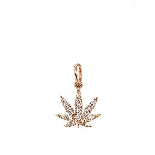 Gold Sativa Leaf Pendant - Diamond Pavé
