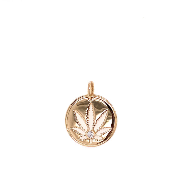 Gold Sativa Leaf Pendant - Cutout Disc with Diamond