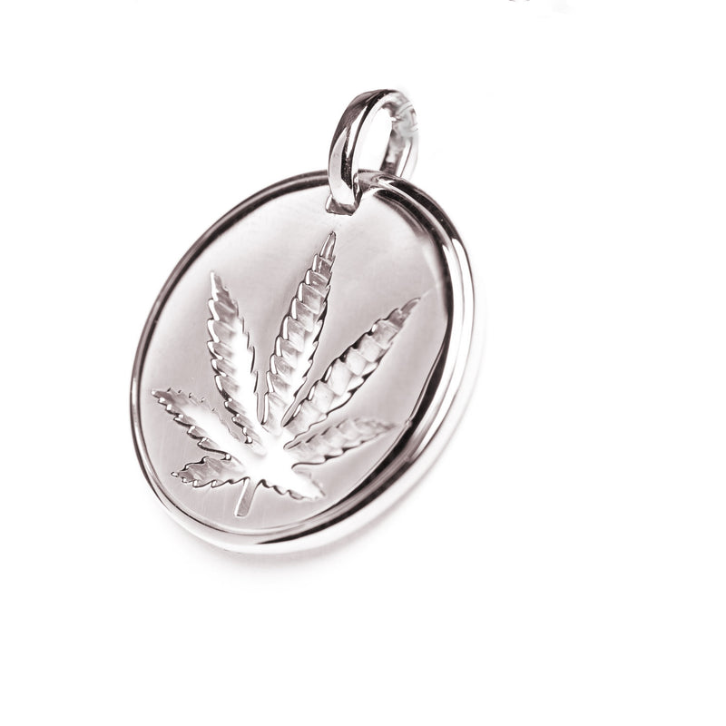 Gold Sativa Leaf Pendant - Cutout Disc
