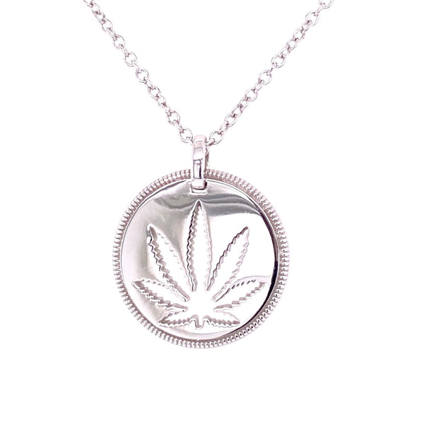 Sterling Silver Sativa Leaf Pendant - Cutout Disc - Milgrain Edge