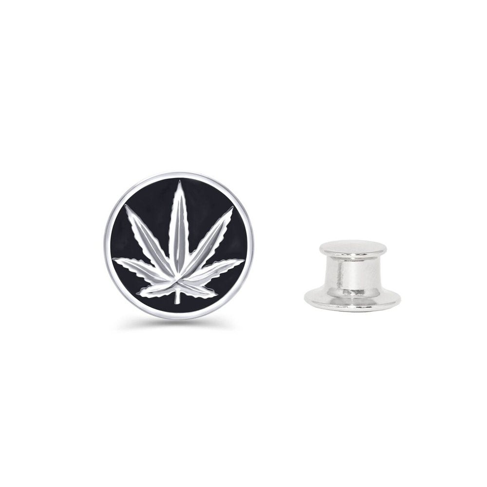 Sterling Silver Sativa Marijuana Leaf Black Enamel Fashion/Lapel Pin
