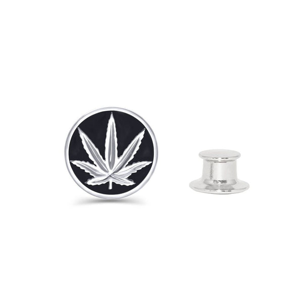 Sterling Silver Sativa Leaf Fashion/Lapel Pin - Black Enamel