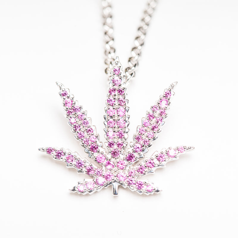White Gold Sativa Leaf Pendant - Pink Sapphire