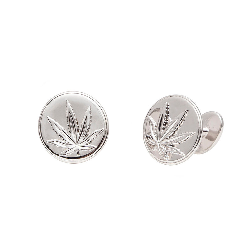 Sterling Silver Sativa Leaf Cufflinks - Round