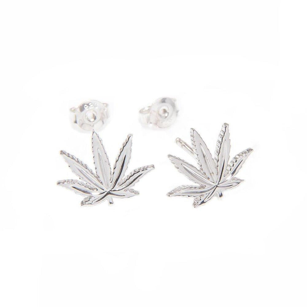 Sterling Silver Sativa Marijuana Leaf Stud Earrings