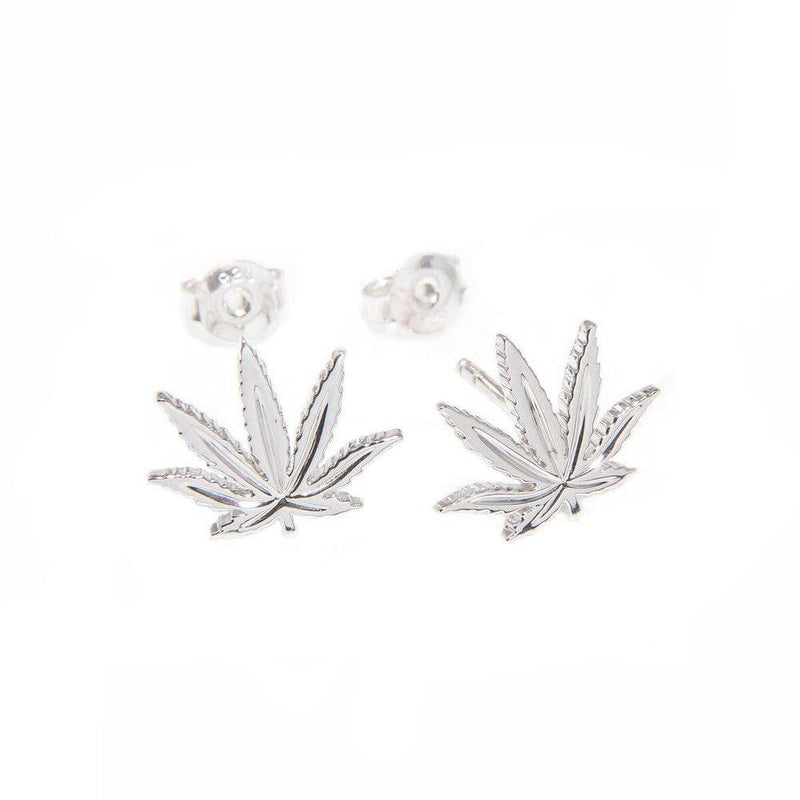 Sterling Silver Sativa Leaf Classic Earrings - Stud