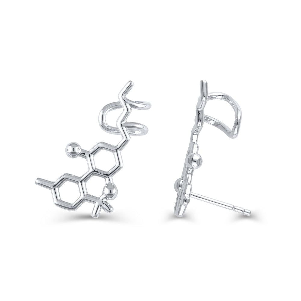 """Halston's"" Sterling Silver THC Molecule Stud Earrings"