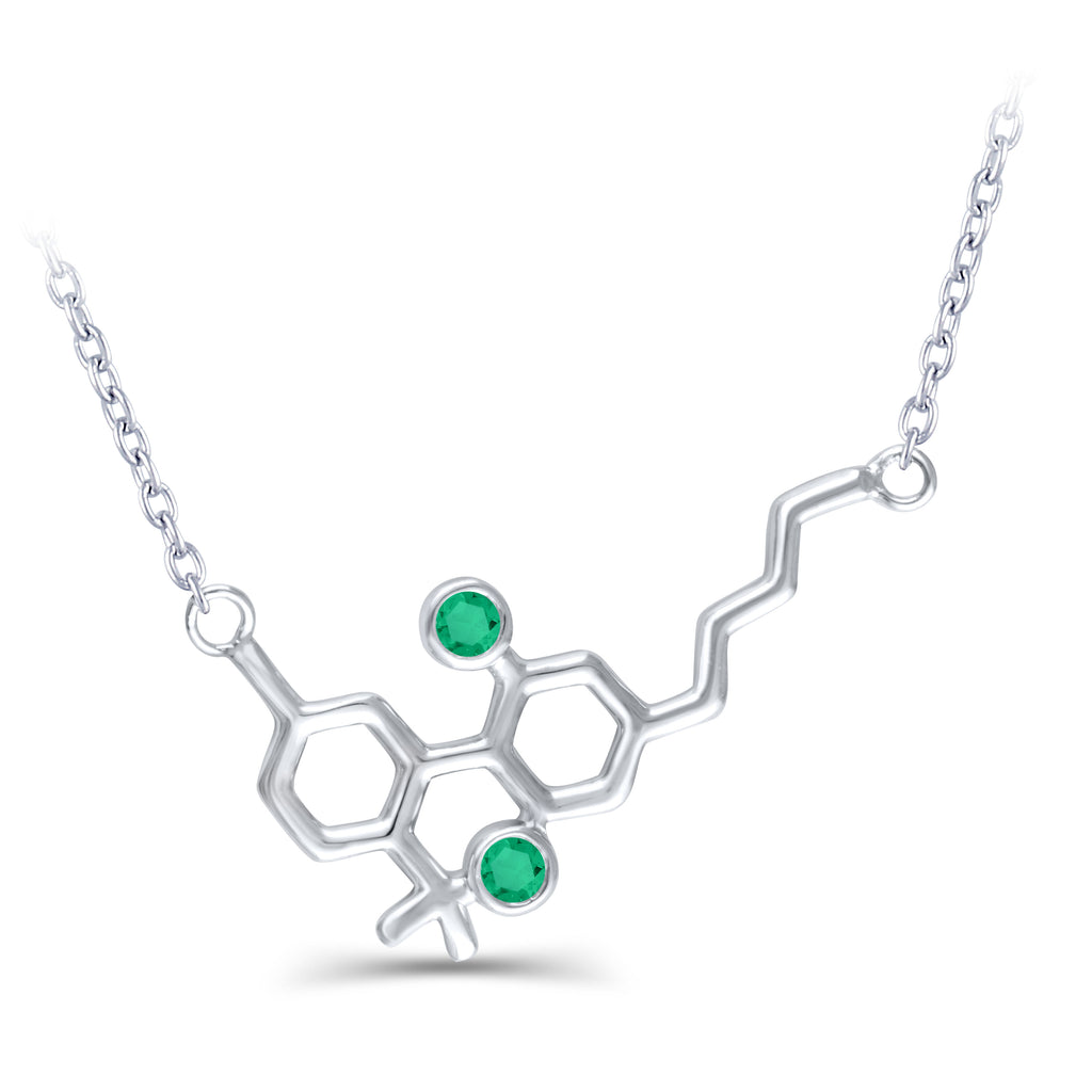 Sterling Silver Molecule Necklace Emeralds