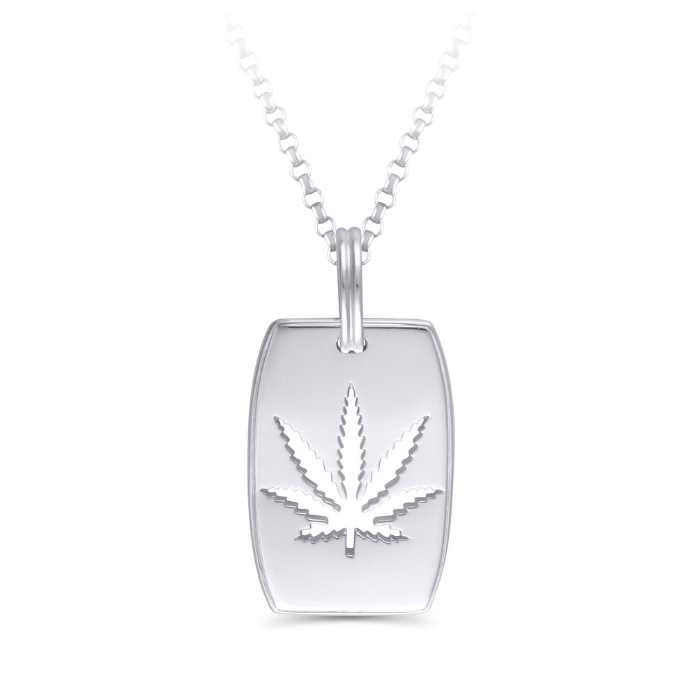 Sterling Silver Sativa Leaf Pendant - Cutout - Dog Tag