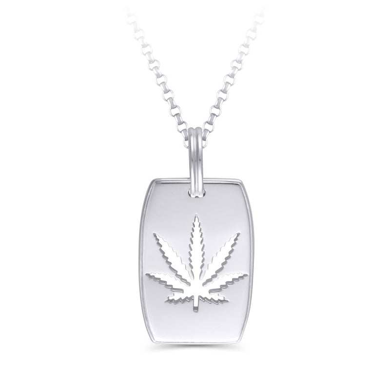 Sterling Silver Sativa Marijuana Leaf Dog Tag Pendant