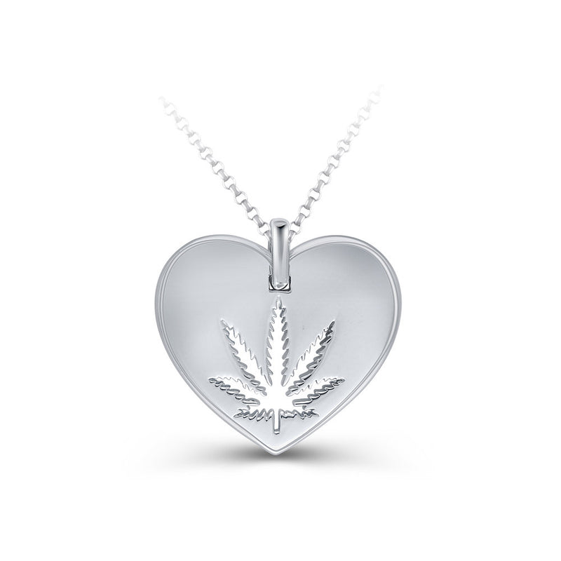 Sterling Silver Sativa Leaf Pendant - Cutout - Heart