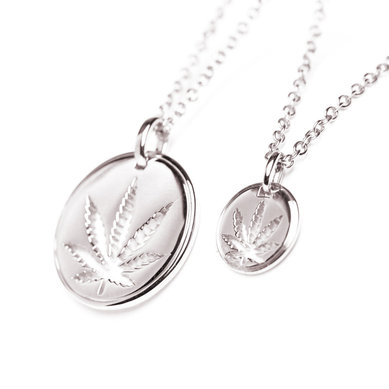 Sterling Silver Sativa Leaf Pendant - Cutout Disc