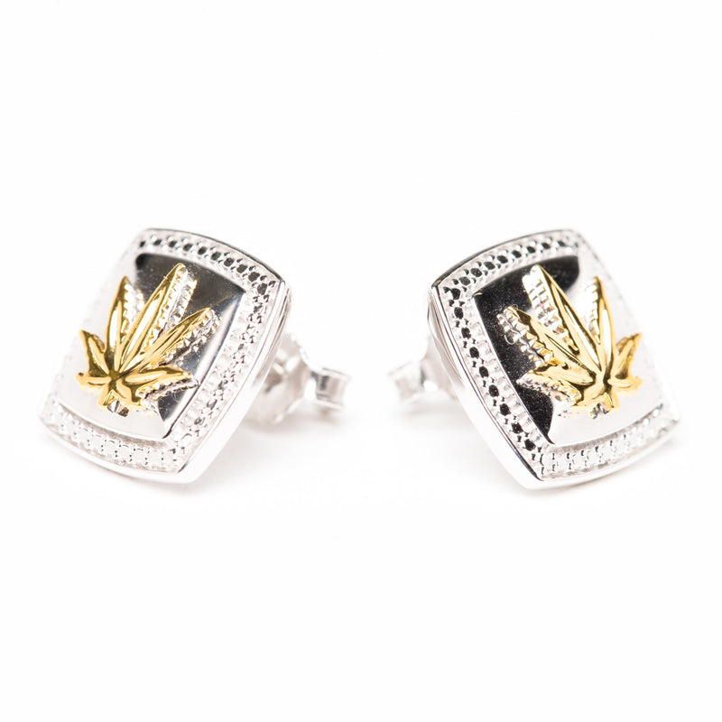 Sterling Silver Earrings 13mm Cushion Shape w/Beaded Edge 18kt Yellow Gold Sativa Leaf
