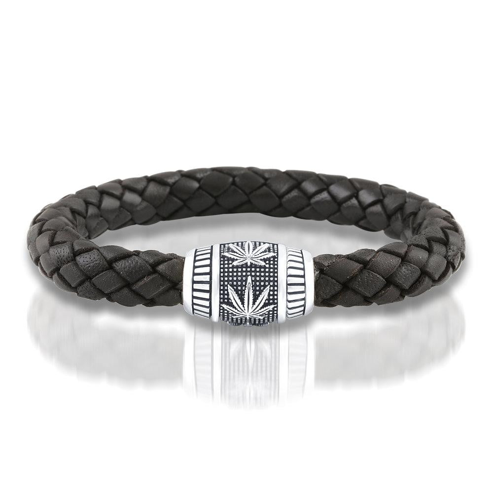 """Grower's BOHO"" Sterling Silver and Leather Bracelet"