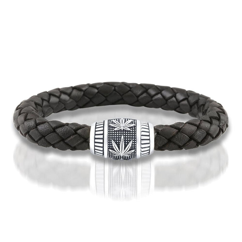 Sterling Silver and Black Leather Bracelet