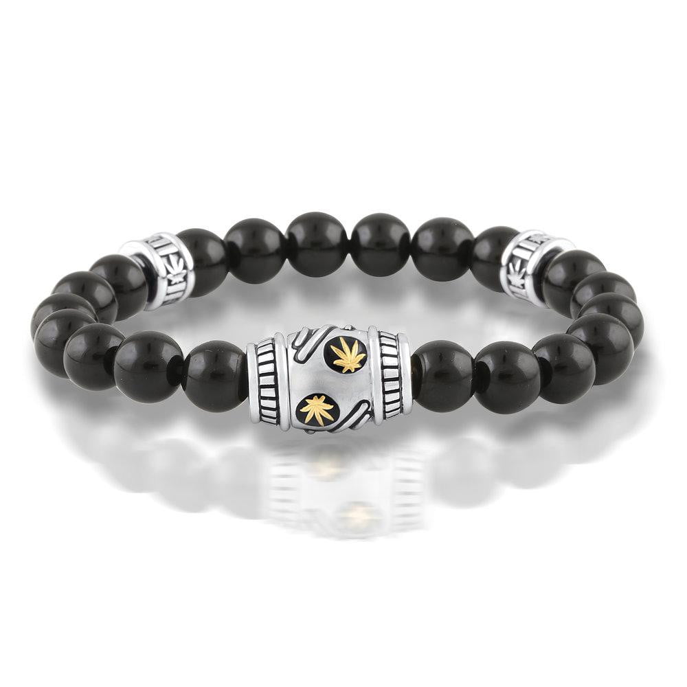 Gold and Sterling Silver Onyx Beaded Bracelet