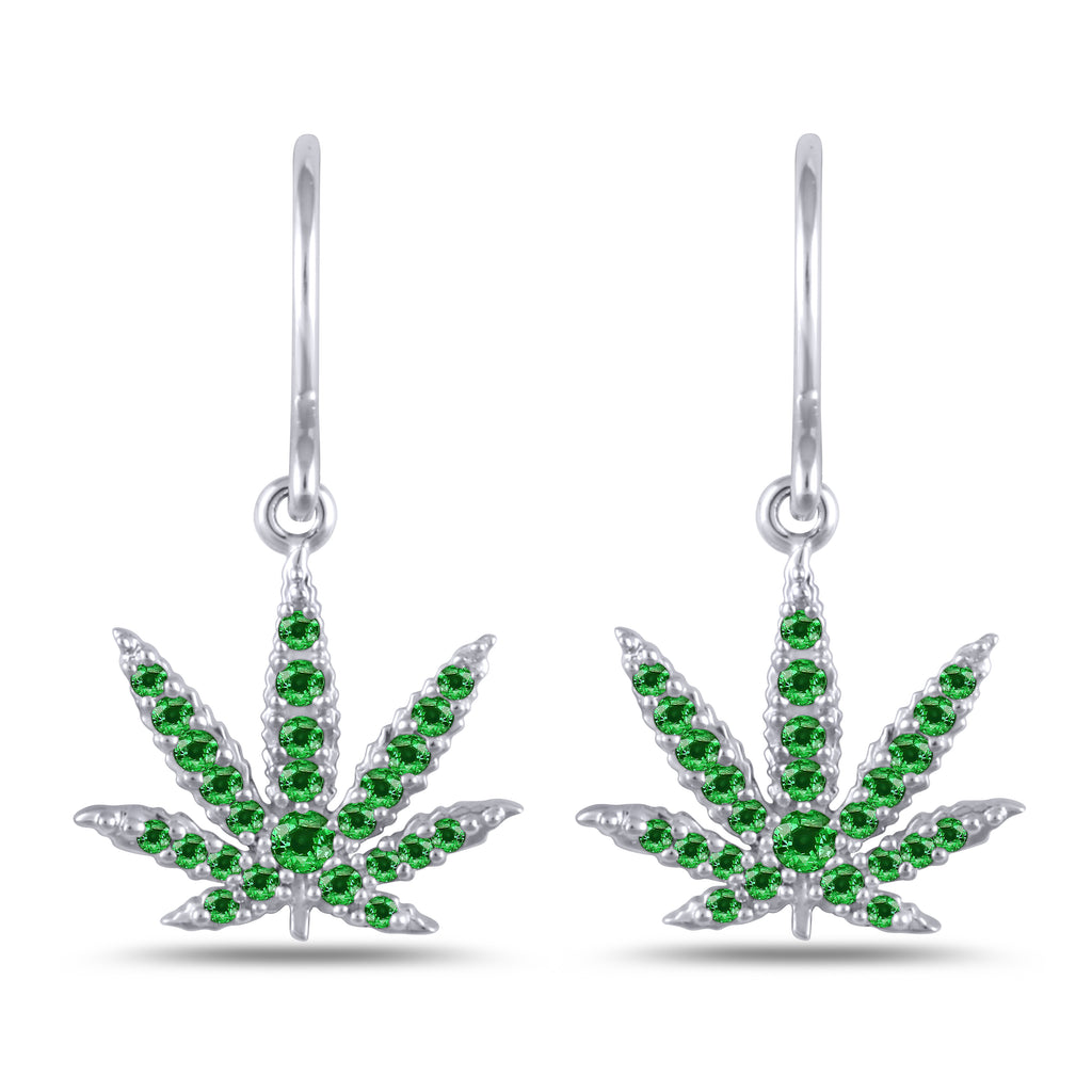 White Gold Sativa Leaf Earrings Green Garnet