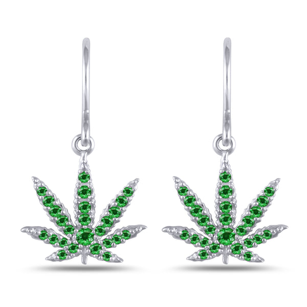 Sterling Silver Sativa Leaf Classic Earrings - Green Garnet - French Wires