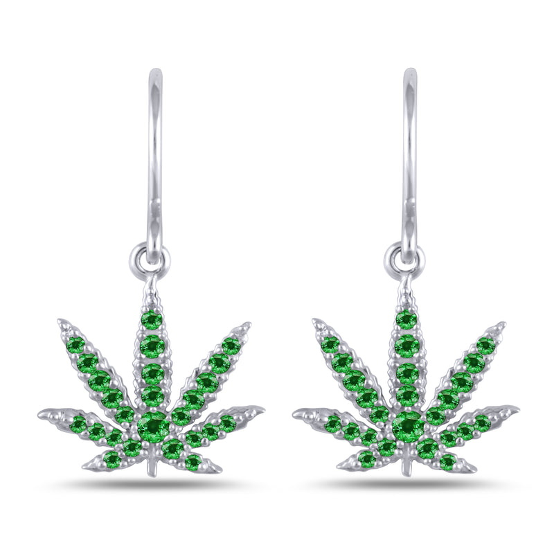 Sterling Silver Sativa Leaf Earrings Green Garnet