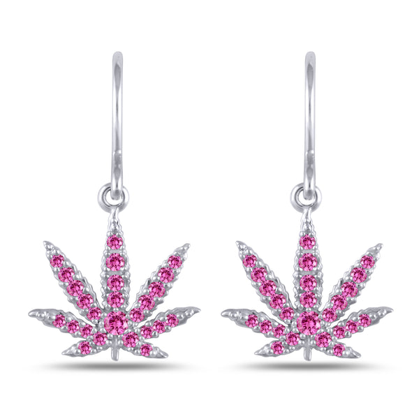 Sterling Silver Sativa Leaf Classic Earrings - Pink Sapphire - French Wires