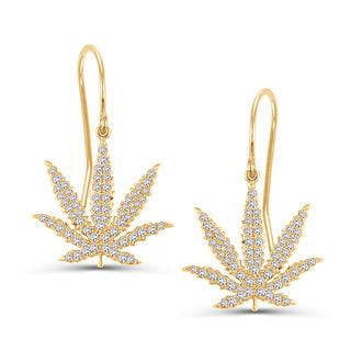 14kt Yellow Gold Sativa Marijuana Leaf Diamond Pavé 20mm Earrings
