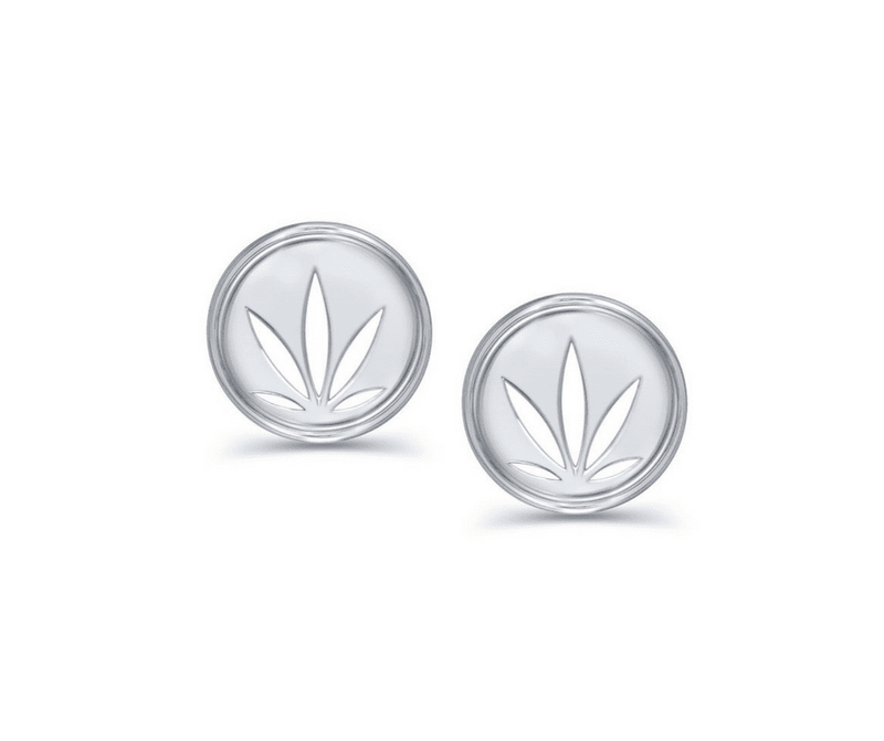 Sterling Silver Modern Leaf 10mm Cutout Stud Earrings