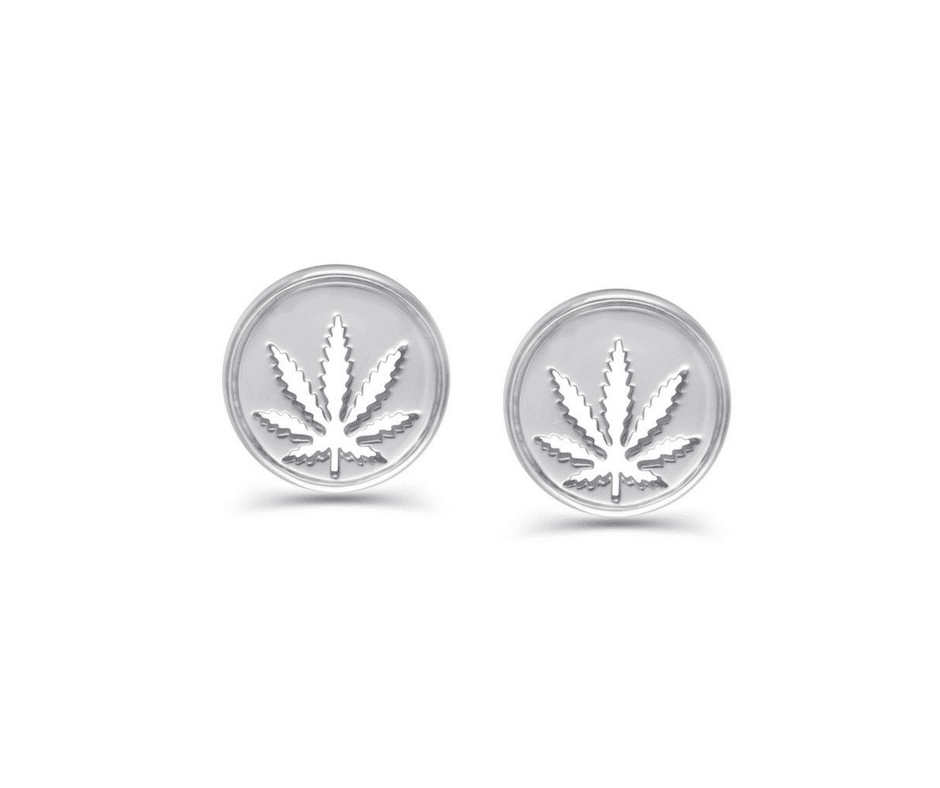 Sterling Silver Sativa Marijuana Leaf 10mm Cutout Stud Earrings