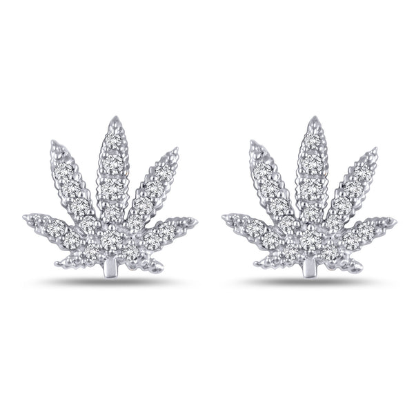 Gold Sativa Leaf Earrings - Diamond Pave' - Stud