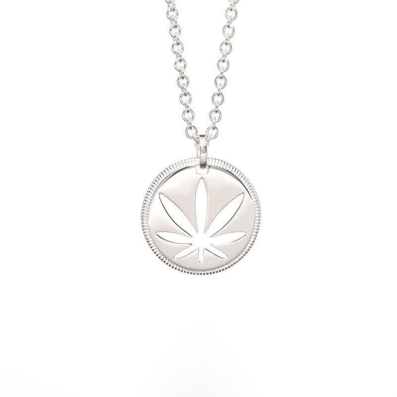 Sterling Silver Modern 7 Leaf Pendant - Cutout Disc