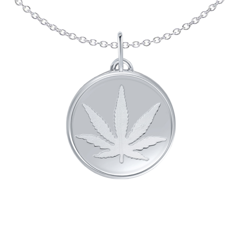 Sterling Silver Etched Sativa Marijuana Leaf 15mm Pendant